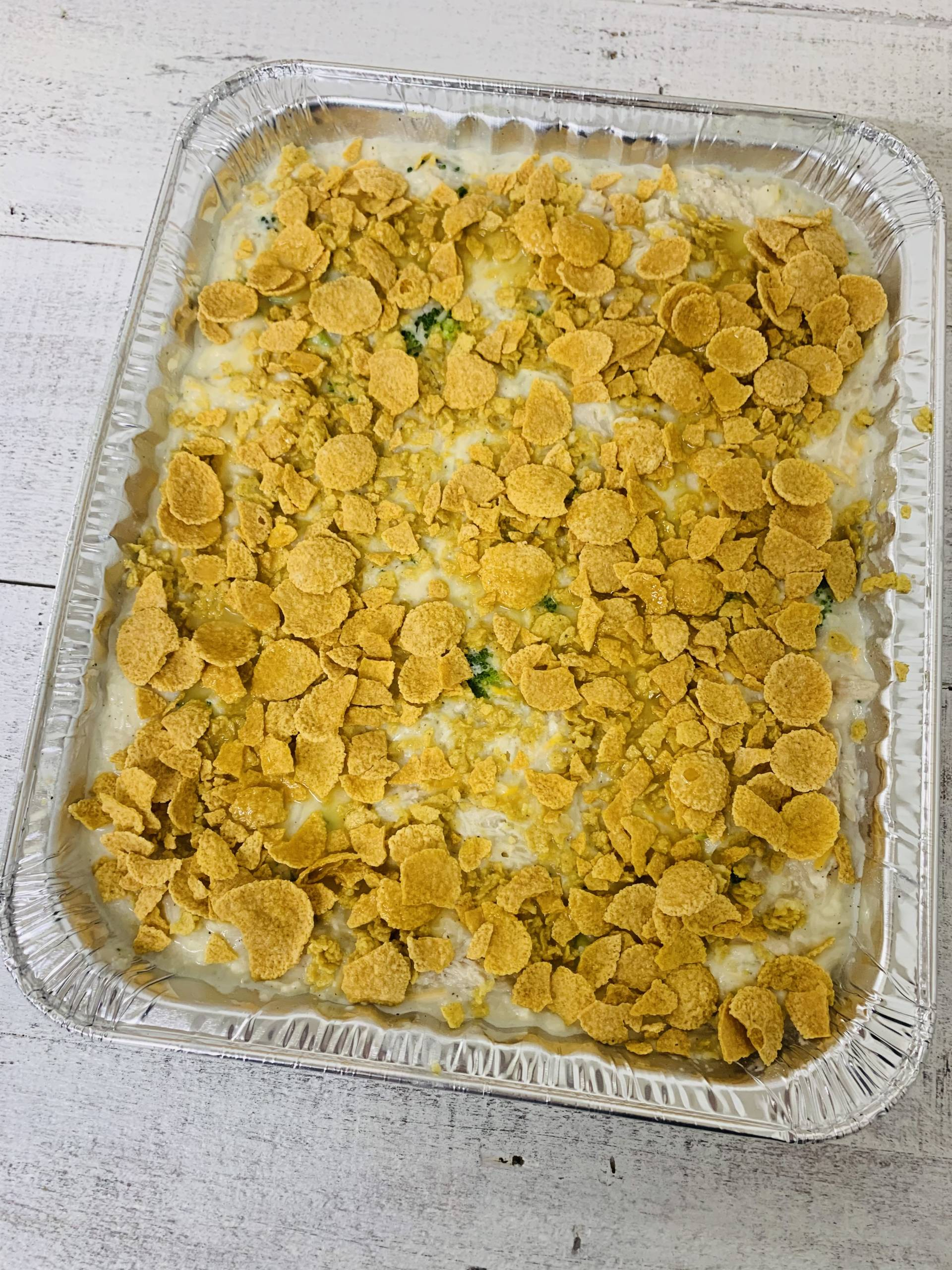 Cheesey Chicken & Broccoli Rice Casserole (Feeds 6-8)
